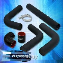 Universal 2.5 Black Turbo Piping Kit Aluminum Mandrel Bends Clamps +Blk Coupler