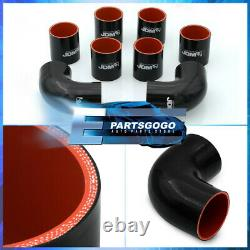 Universal 2.5 Inch Turbo Piping Kit Aluminum Mandrel Bends Clamps +Blk Couplers