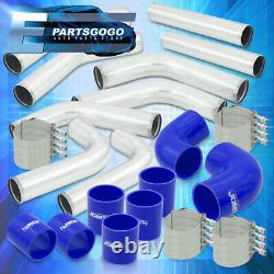 Universal 2.5 Inch Turbo Piping Kit Aluminum Mandrel Bends Clamps +Blue Coupler