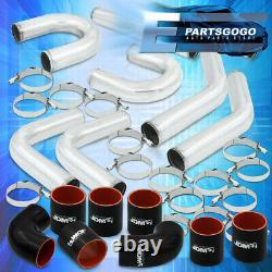 Universal 2.5 Inch Turbo Piping Kit Aluminum Mandrel U-Bend Clamp + Blk Coupler