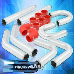 Universal 2.5 Inch Turbo Piping Kit Aluminum Mandrel U-Bend Clamp + Red Coupler