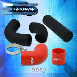 Universal 2.5 Turbo Piping Kit Black Aluminum Mandrel Bends Clamps +Red Coupler
