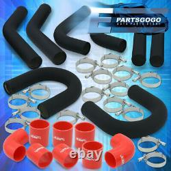 Universal 2.5 Turbo Piping Kit Blk Aluminum Mandrel U-Bend Clamp + Red Couplers