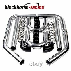 Universal 3'' 76mm Aluminum Intercooler Pipe Kit DIY Kit Black SiliconeHose