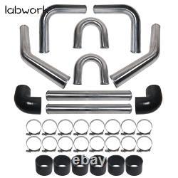 Universal 3 Aluminum Intercooler Piping U-Pipe Kit + Coupler Black + T-Clamps