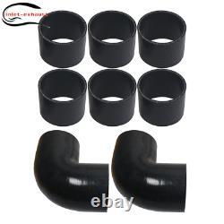 Universal 3 Inch Aluminum Intercooler Piping U-Pipe Kit+Coupler Black+T-Clamps