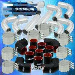 Universal 3 Inch Turbo Piping Kit Aluminum Mandrel Bends + Clamps + Blk Couplers