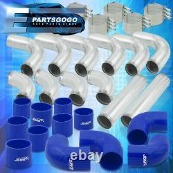 Universal 3 Inch Turbo Piping Kit Aluminum Mandrel Bends + Clamps +Blue Couplers