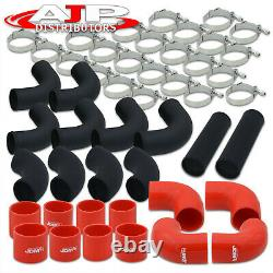 Universal 3 Intercooler Black Piping Kit + T-Bolt Clamps +Red Silicone Couplers