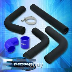 Universal 3 Turbo Piping Kit Black Aluminum Mandrel Bends Clamps +Blue Coupler
