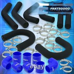 Universal 3 Turbo Piping Kit Black Aluminum Mandrel U-Bend Clamp +Blue Couplers