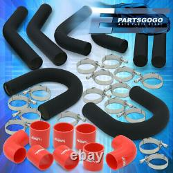 Universal 3 Turbo Piping Kit Black Aluminum Mandrel U-Bend + Clamp +Red Coupler