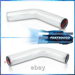 Universal 3 Turbo Piping Kit Chrome Aluminum Mandrel Bends Clamps +Blk Couplers