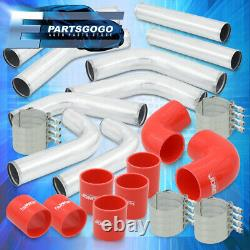 Universal 3 Turbo Piping Kit Chrome Aluminum Mandrel Bends Clamps +Red Couplers