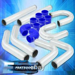 Universal 3 Turbo Piping Kit Chrome Aluminum Mandrel U-Bend Clamp +Blue Coupler