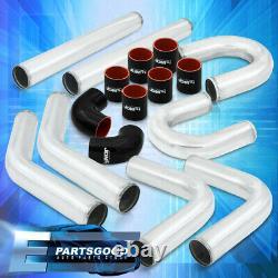 Universal 3 Turbo Piping Kit Chrome Aluminum Mandrel U-Bend Clamps +Blk Coupler
