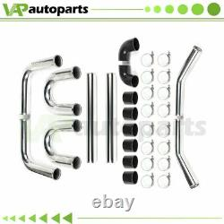 Universal 3 in 8pcs Turbo Intercooler Pipe kit + Host Clamp Silicone 76mm