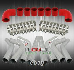 Universal Diy Custom 8 Piece Chrome Pipe Intercooler 3 Piping Kit Red Couplers