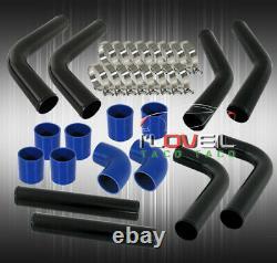 Universal Diy Custom 8 Piece Pipe Intercooler 3 Black Piping Kit Blue Couplers