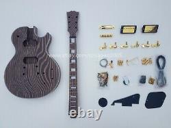 Zebra Wood Zingana Electric Guitar Kit (Body+Neck+All Parts) DIY Electric Guitar